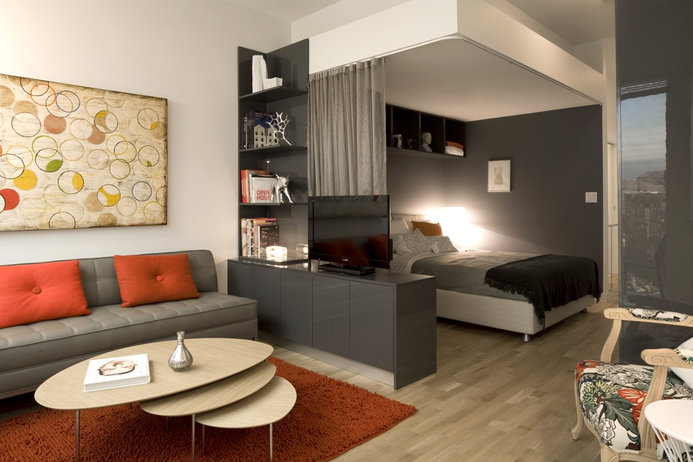 Superieur Simple Modern Grey Accents Living Room  Sofa Wooden Coffee Table Modern Condo For Small Spaces
